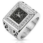 Stainless Steel Initial K with Black Gem and CZ Square Cast Ring Men's Band