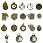 Metal Charm Pendants Clock Bronze Tone M1560