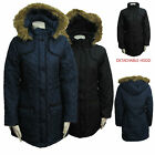 Ladies DETACHABLE Fur Hooded Padded Womens Military Parka Jacket Coat Brave Soul