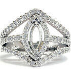 .86 Ct Fancy Marquise Cut Diamond Semi Mount Ring Setting Pave Halo White Gold