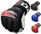Auth RDX Leather Gel Tech MMA 7oz Grappling Gloves Fight Boxing UFC Punch Bag G