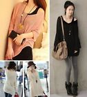 Women Long Sleeve Cotton Blend Casual Knit Top Knit Sweater Jumper Pullover coat