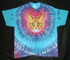 RED TABBY CAT FACE TIE DYE T-SHIRT ORANGE TIGER GINGER CAT