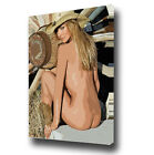 LARGE SEXY NAKED COWGIRL  CANVAS PRINT EZ0566