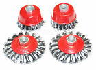 4pc ROUND TWIST KNOT SEMI FLAT WIRE WHEEL CUP BRUSH SET FOR 115MM ANGLE GRINDER