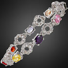 Fashion Women Party Gemstone Oval Cut Tennis 18K White Gold Plated Bracelet