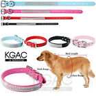 Rhinestone Dog Collar Soft Leather Diamante Collars Bling For Puppies Adult Dogs