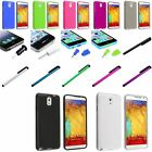 Color TPU Slim Skin Gel Case+Clip Stylus+Dust Cap For Samsung Galaxy Note 3 III