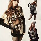 Hot Women Tiger Printed Batwing Long Sleeve Knitted Pullover Sweater Tops Jumper
