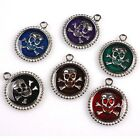 Plated Rhodium Round Skull Head Colorful Enamel Alloy Charms Pendant Fit Jewelry