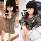 Cute Kids Girl long Sleeves Round Collar Leopard Casual Party Dress Skirt Top