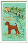Irish Terrier Birthday Card Embroidered by Dogmania
