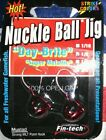 Fin-tech 1/8 day brite red nuckle ball fishing jigs mustad hook qty 2
