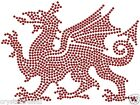 WELSH FLAG DRAGON IRON-ON RHINESTONE DIAMANTE BLING DIY TSHIRT TRANSFER APPLIQUE