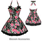 RKH23 Hearts & Roses Skull Punk Gothic Short Rockabilly Dress 50's Vintage Swing