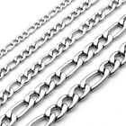 "Pick 3-7mm 316L Stainless Steel Figaro Chain NK Links Necklace 20"" Mens Womens"