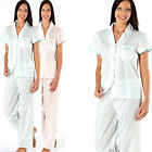 Womens Ladies Woven Collar Nightwear Sleepwear Pjs Pyjama set Pocket SUMMER