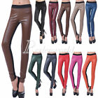 Fashion Womens Shiny Faux Leather Back Cotton High Waist Leggings