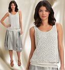 $278 Eileen Fisher Sequin Chain mail Mesh Antique Silver Knit  Tank Top