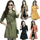 Women Slim Fit Trench Double Breasted Coat Outwear OL Belted New Lace Hem Jacket