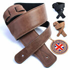 Real Leather Guitar Strap: Ultrasoft padded,  UK made 130cm Electric Acoustic