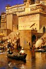ON THE RIVER GANGES BENARES INDIA ORIENTALIST PAINTING BY EDWIN LORD WEEKS REPRO