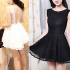 New Women Backless Lace Perspective Strap Sexy Evening Mini Dress M2533