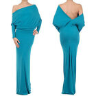 TEAL BLUE MULTI WAY Plunging REVERSIBLE Convertible MAXI DRESS Off Shoulder USA