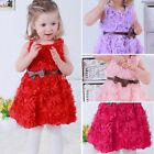 Baby Girls Toddler Kids Lace Rose Flower Bowknot Party Dress Outfit Clothes SH