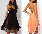 New sexy hot halter strap chiffon Backless Sling Strap beach Party Dress 3 color