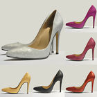 New Womens Bling High Heel Pointed Corset Pumps Court Shoes Glitter Size 2-9
