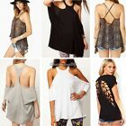 Sexy Women's Casual Hollow Backless T-shirt Blouse Short Sleeve Tank Tops C1MY