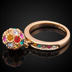 New Rose Gold GP Colorful Crystal Stone Dangle Ball Party Ring IR016D