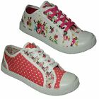 LADIES CANVAS SHOES RETRO LACE UP WOMENS PUMPS PLIMSOLES TRAINERS SHOES