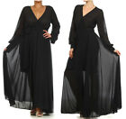 BLACK FULL SWEEP Chiffon MAXI DRESS Wrap SHEER Gown CRUISE Long Skirt PARTY vtg