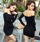 Women sexy Boat Neck strapless tight Modal long sleeve Solid Mini stretch dress