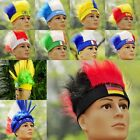Mens Womens Mohawk Wig Hat World Cup FIFA Football National Fans Soccer Head Cap