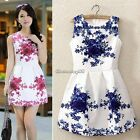 Vintage Women Sleeveless White and Blue Porcelain Floral Print Short Mini dress