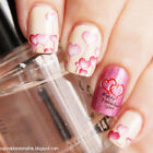 Delicate Red Rose Lip And Heart Pattern Nail Art Water Decals Transfers Sticker
