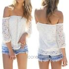 Sexy Chic Women's Hollow Off Shoulder Boho Long Sleeve Lace T Shirt Tops Blouse