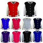 NEW KIDS GIRLS BOYS VARSITY STYLE BASEBALL PLAIN JACKET FASHION HOODIE TOP 5-13Y