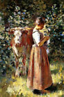 LA VACHERE COWHERD COW PEASANT GIRL SEWING PAINTING BY THEODORE ROBINSON REPRO