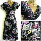 NEW MONSOON TEA DRESS VTG RETRO 40'S STYLE BLACK PINK GREY SZ 8 10 12 14 16 18