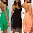 Fashion Sexy Womens Ladys Chiffon Club Cocktail Party Mini Dress Backless Summer