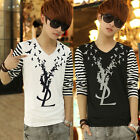 Korea New Fashion Men's ColorStitching Cotton Stripe Casual Long Sleeved T-Shirt
