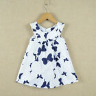 New Baby Girls Toddlers Cute 100%Cotton Princess Butterfly Tank Dress Size 6M-6Y