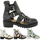 NEW LADIES WOMENS CUT OUT ANKLE BOOTS CLEATED SOLE FLAT PLATFORM SHOES PUNK SIZE