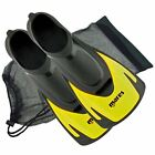 Mares Hermes Swimming Snorkeling Training Short Fins Flippers + FREE BAG -Yellow