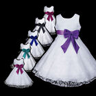w999 a7 AuG White Blue Bridesmaid Wedding Costume Party Flower Girls Dress 2-12y