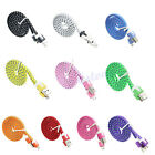 USB Micro Flat Braided Sync Charger Cable Cord Adapter For Samsung S2 S3 S4 HTC